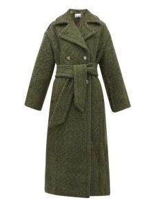 Ganni - Belted Double-breasted Wool-blend Coat - Womens - Khaki
