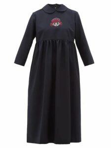 Comme Des Garçons Girl - Crystal Cartoon-embellished Wool Midi Dress - Womens - Navy