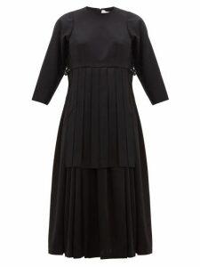 Noir Kei Ninomiya - Pleated Wool-twill Dress - Womens - Black