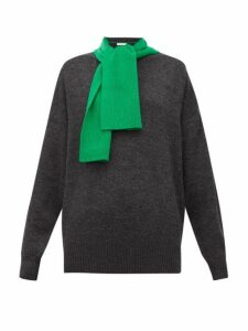 See By Chloé - Contrast Scarf-neck Wool Sweater - Womens - Grey Multi