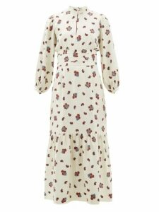 Rebecca De Ravenel - Bailey Paisley-print Silk-blend Dress - Womens - White Multi
