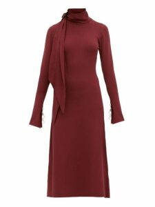 Ellery - Emmersion Scarf Collar Midi Dress - Womens - Burgundy