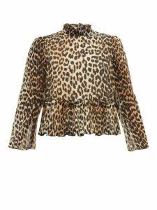 Ganni - Leopard-print Ruffled Top - Womens - Leopard