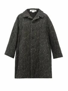 Comme Des Garçons Comme Des Garçons - Single Breasted Wool Blend Tweed Coat - Womens - Black White
