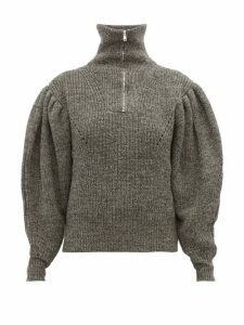 Isabel Marant - Kuma Puff-sleeve Wool Sweater - Womens - Dark Grey