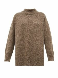 The Row - Edmund High Neck Wool Sweater - Womens - Brown Multi