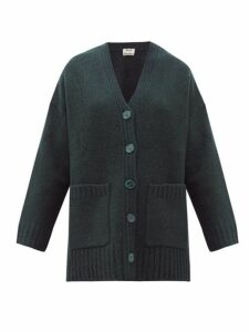 Acne Studios - Kanita Side Slit Wool Blend Cardigan - Womens - Dark Green