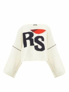 Raf Simons - Cropped Wool Sweater - Womens - Cream Multi