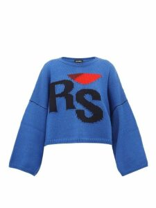 Raf Simons - Cropped Wool Sweater - Womens - Blue Multi