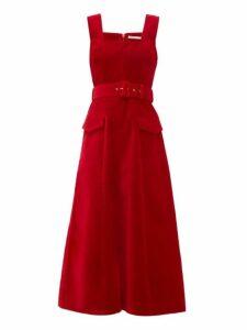 Emilia Wickstead - Petra Belted Velvet Midi Dress - Womens - Red