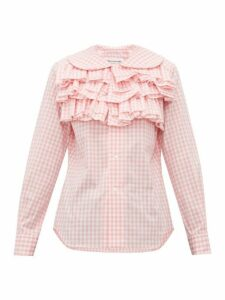 Comme Des Garçons Girl - Ruffled Gingham Cotton Blouse - Womens - Pink White