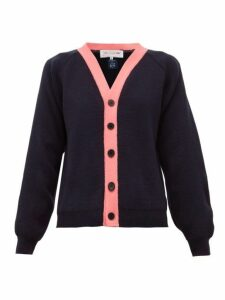 Comme Des Garçons Girl - Contrast-trim Knitted Cardigan - Womens - Navy Multi