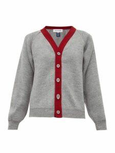 Comme Des Garçons Girl - Contrast Trim Knitted Cardigan - Womens - Grey