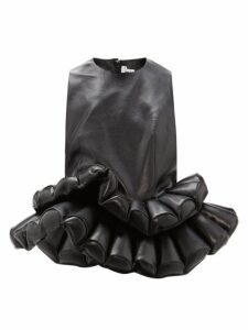 Noir Kei Ninomiya - Double-peplum Faux-leather Top - Womens - Black