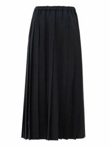 Junya Watanabe - Pleated Wool-blend Midi Skirt - Womens - Navy