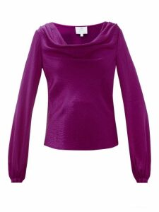 Rebecca De Ravenel - Laura Cowl-neck Hammered-silk Blouse - Womens - Dark Pink