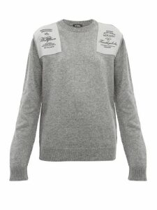 Raf Simons - Embroidered Shoulder-patch Wool Sweater - Womens - Grey
