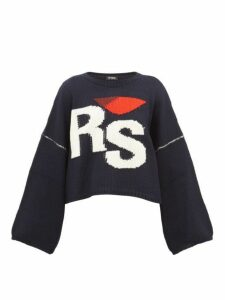 Raf Simons - Cropped Wool Sweater - Womens - Navy Multi