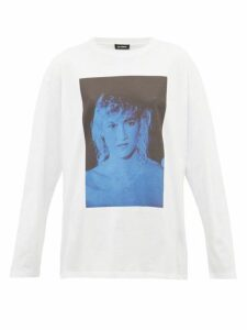 Raf Simons - Blue Velvet Print Cotton Jersey T Shirt - Womens - White