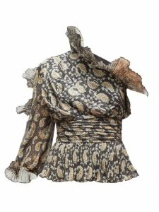 Altuzarra - Aditi Plissé-trimmed Paisley-print Silk Top - Womens - Black Multi