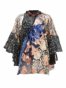 Biyan - Jona Beaded-neck Velvet And Brocade Blouse - Womens - Black Pink