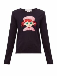 Comme Des Garçons Girl - Intarsia Girl Wool Blend Sweater - Womens - Navy
