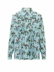 Valentino - X Undercover Lip Floral-print Silk-crepe Blouse - Womens - Light Blue