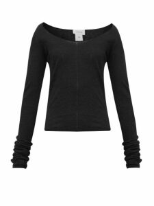 Lemaire - Second Skin Scoop-neck Crepe-knit Sweater - Womens - Black