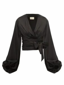 Alexandre Vauthier - Balloon Sleeve Silk Blend Satin Wrap Top - Womens - Black