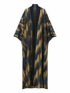 Missoni - Metallic Jacquard Knit Cape Cardigan - Womens - Navy Gold