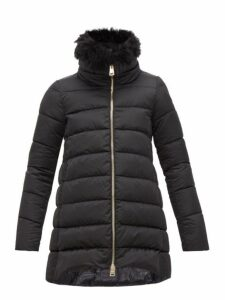Herno - High Neck Padded Down Shell Satin Coat - Womens - Black