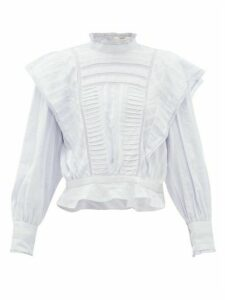 Isabel Marant Étoile - Perla Ruffled Striped Cotton Blouse - Womens - Light Blue