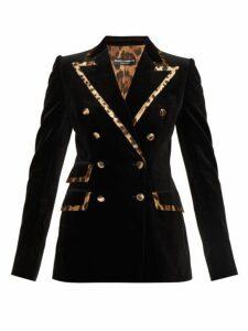 Dolce & Gabbana - Leopard Trimmed Velvet Tailored Jacket - Womens - Black