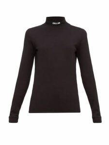 Vetements - Collar-embroidered Cotton-jersey Top - Womens - Black