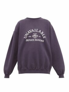 Vetements - Unavailable-print Cotton Sweatshirt - Womens - Navy