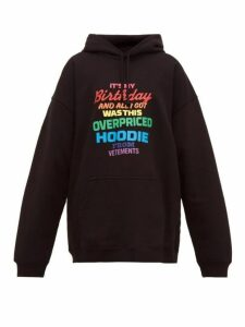 Vetements - Slogan Print Cotton Jersey Hooded Sweatshirt - Womens - Black Multi