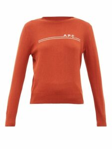 A.p.c. - Logo-intarsia Crew-neck Cotton-blend Sweater - Womens - Burgundy