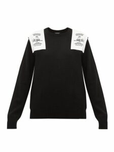 Raf Simons - Embroidered Shoulder Patch Wool Sweater - Womens - Black