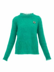 Rochas - Crystal Logo Embellished Mohair Blend Sweater - Womens - Green