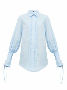 Ann Demeulemeester - Pleated Cotton Poplin Shirt - Womens - Blue