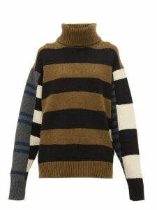 Colville - Roll Neck Striped Wool Sweater - Womens - Blue Multi
