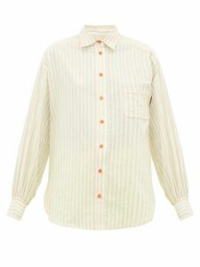 Sies Marjan - Emanuela Puffed-sleeve Striped Cotton-blend Shirt - Womens - Beige Stripe