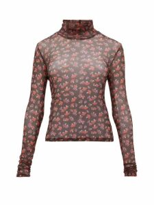 Staud - Roll-neck Mushroom-print Mesh Top - Womens - Black Multi