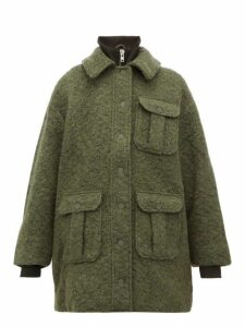 Ganni - High Neck Bouclé Wool Blend Coat - Womens - Khaki
