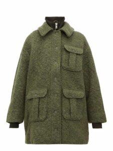 Ganni - High-neck Bouclé Wool-blend Coat - Womens - Khaki
