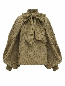 Ganni - Pussy-bow Broderie Anglaise-cotton Blouse - Womens - Khaki