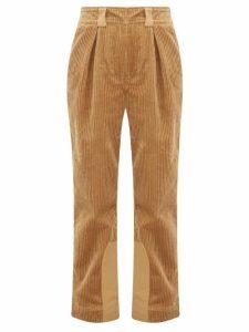 Ganni - Cotton-corduroy Straight-leg Trousers - Womens - Camel
