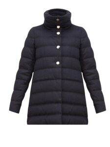 Herno - High Neck Down Filled Silk Blend Coat - Womens - Navy
