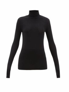 Atm - Roll-neck Long-sleeved Ribbed-jersey T-shirt - Womens - Black