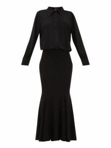Norma Kamali - Boyfriend Fishtail Shirtdress - Womens - Black